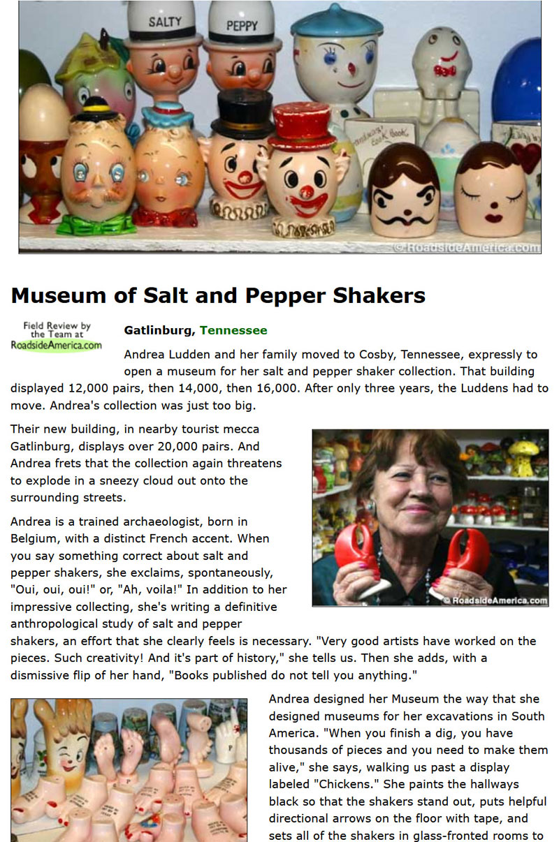 Image of an article by Roadside America of the Salt and Pepper Shaker Museum